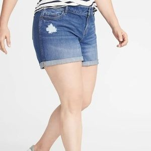 Plus-Size Boyfriend Distressed Jean Shorts New